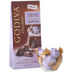 Godiva Individually Wrapped Dark Chocolate Lava Cake Truffles ($10) ❤ liked on Polyvore featuring no color