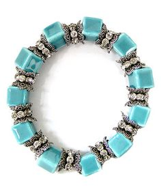 Another great find on #zulily! Turquoise & Rhinestone Stretch Bracelet by MOA International Corp #zulilyfinds
