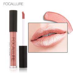 マット液体口紅focallure batomメタリック色長続き防水リップグロス顔料セクシーな唇メイクリップペイント