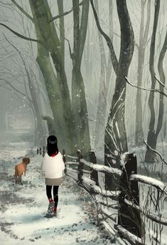 You see the snow, you smell the trees, you hear the crunch, you feel Happy. #pascalcampion PS I don't usualy use reference for my daily sketches but I did for the forest on this one!