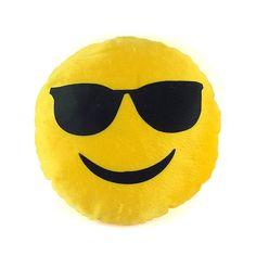 Almofada Pelúcia Emoji Óculos de Sol