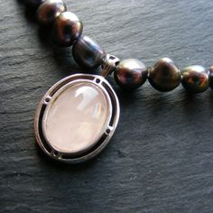 Peacock Fresh Water Pearl Necklace with Rose Quartz Pendant Sterling Silver 925 £35.00