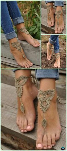 Crochet Lace Barefoot Beach Sandals Free Pattern - Crochet Women Barefoot Sandal Anklets Patterns