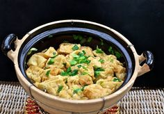 Fried Tofu Simmered with Scallion--Dau Hu Chien Tam Hanh La