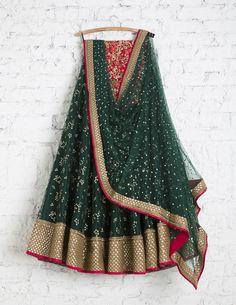 SwatiManish Lehengas SMF LEH 214 17 Deep green lehenga and badla duppatta with red floral threadwork sequin blouse