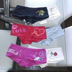Victoria's Secret Assorted Shorts Cute and Random low rise Victoria's Secret Assorted shorts. Tag says XS but can also fit a small waist. Depends on how much cheak you want out :). All 6 for $30, 3 for $21, 2 for $15, or 1 for $8. Let me know if you only want particular ones. Victoria's Secret Intimates & Sleepwear Panties