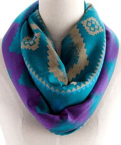 Look at this #zulilyfind! Turqoise Tribal Ombré Infinity Scarf #zulilyfinds