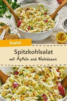 Ein tolles Salat Rezept: Spitzkohlsalat mit fruchtigen Äpfeln und Walnüssen: E… A great salad recipe: Pointed cabbage salad with fruity apples and walnuts: A highlight among the cabbage recipes! Great Salad Recipes, Dinner Recipes, Dinner Ideas, Seafood Salad, Pasta Salad, Chicken Salad, Easy Salads, Easy Meals, Cottage Cheese Salad