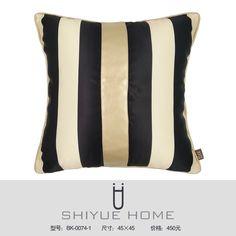 样板房抱枕靠垫现代简约黑白条纹几何格子抱枕套样板房沙发靠枕 QQ2853529906