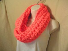 Neon Orange Pink Mango Cowl Infinity Circle Scarf by madebymandy35, $22.00