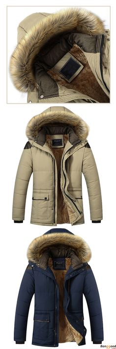 Furry Jackets for You. US$67.99 + Free Shipping. Mens Thick Fleece Warm Hooded Fur Winter Outwear Jacket Outdoor Casual Shoulder Splices Padded Coat.