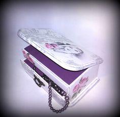 Decoupage pine wood box with mirror, Jewerly box, Glamour, Retro decoration, Decoupaged casket, Marylin Monroe, Wooden box by FeltBagsbyMarta on Etsy