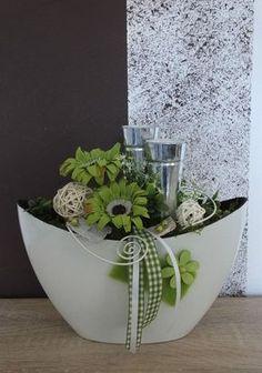 Tischdekoration, Tischgesteck, Gesteck, Windlicht, Sommer, grün-weiß in Möbel & Wohnen, Dekoration, Sonstige | eBay