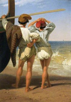 Fisher Boys, mid 19th C by Penry Williams 1798–1885 Nationality: British......Italy, I think....those look like Phrygian caps ....... French Revolution.....