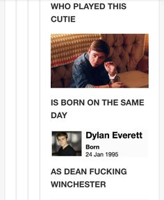 The actor playing young Dean Winchester is born the same day as Dean Winchester... and that's awesome!