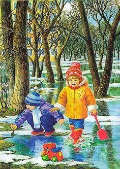 Мобильный LiveInternet Быть счастливым каждым днём...Времена года в иллюстрациях Любови Новоселовой   МартаМакси - Дневник МартаМакси   Drawing For Kids, Art For Kids, Four Seasons Art, Spring Scenery, Arte Country, Painting People, Cartoon Pics, Christmas Wallpaper, Christmas Art