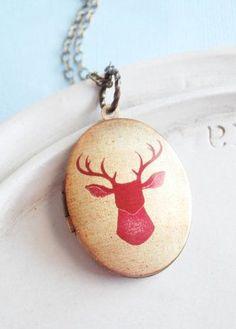 Deer Locket Necklace by linkeldesigns