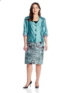 Dana Kay Women's Plus-Size Floral Print 3 Button Skirt Set, Sea Green, 24W  Go to the website to read more description.