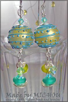Capri  Art Glass Earrings by Michou Pascale by MichouJewelry, $79.00
