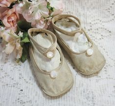 Antique Swan Ankle Button Baby Shoes ~ SOLD