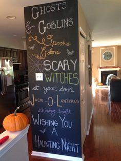 My Halloween wall Halloween Chalkboard, Chalkboard Art, Chalk Wall, Chalk Board, Scary Witch, Chalk Ideas, Inspiration Wall, Adirondack Chairs, Drawing Ideas