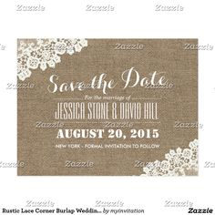 Rustic Lace Corner Burlap Wedding Save the Date