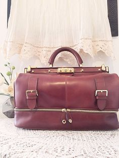 Doctor's bag Retro style women briefcase Brown soft by PomponiBags