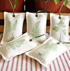 linen lavender sachets - fern prints