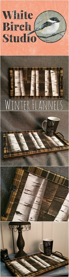 Item details 5 out of 5 stars.      (228) reviews Shipping & Policies Decorative tray, White Birch tree, Flannel plaid, Barn wood Serving Tray, table tray, distressed upcycled wood  This unique piece is 19 in x 11 in.   Are you looking for a unique, personal touch to your WINTER decor? This tray will look great on your coffee table with hand-painted white birch trees. It has been sanded for a aged appearance. The tray edge is wrapped with plaid fabric for a unique look.