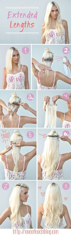 How to clip in your extensions. Great ''how to'' pics for us girls with short hair :D
