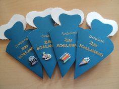 4 ST Einladungskarten/Einschulung/Schulanfang von Kartenträume auf DaWanda.com