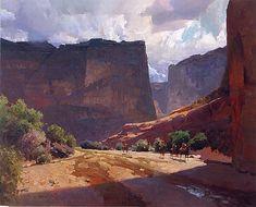 Navajo Trail by Mian Situ Oil ~ 32 x 40 kK Western Landscape, Landscape Art, Landscape Paintings, Landscapes, Nature Paintings, Traditional Paintings, Traditional Art, Painters Studio, Southwestern Art