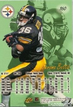 PITTSBURGH STEELERS JEROME THE BUS BETTIS 1997 TOPPS
