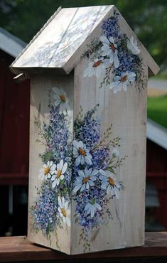 bird house painting ideas Hand Painted Bird House with shelf SOLD Bird Houses Painted, Decorative Bird Houses, Bird Houses Diy, Painted Birdhouses, Tole Painting, Painting On Wood, Wood Crafts, Diy And Crafts, Blue And Purple Flowers