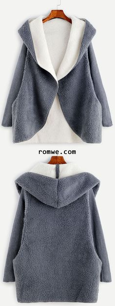 Contrast Ribbed Sleeve Hooded Sherpa Coat