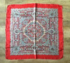 Vintage 1970s red paisley print bandana scarf by MODERNOUTLAW