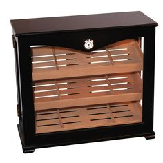 Deluxe Upright Wooden Humidor Display Cabinet (150 Cigars)