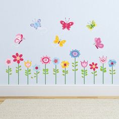 Whimsy Garden Flowers and 6 Butterflies Nursery Wall Sticker Decals:Amazon:Baby