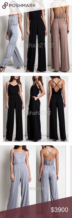 Jumpsuit jumper dress criss cross back dress pant ‼️BLACK OR MOCHA ‼️Price is firm unless bundled‼️  New with tags retail item. sexy jumpsuit jumper catsuit dress, high waisted wide leg pants,crisscross back.backless open back style . Adjustable straps. Elastic waist.  ⭐high quality Material , -super comfy and stretchy fabric. Boutique Pants Jumpsuits & Rompers