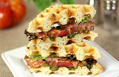 Cheese and Herb Waffle Toasts for a Bacon, Lettuce and Tomato Sandwich