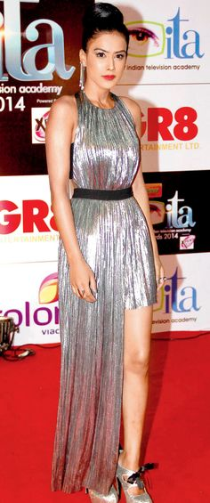 Nia Sharma at the 14th Indian Television Academy Awards 2014. #Bollywood #Fashion #Style #Beauty