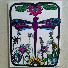 Dragonfly Floral - SOLD   Interested?  I can do another like this for you.  Just contact me at mandyterry@gmail.com