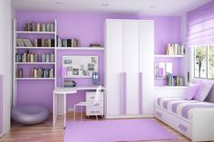 Bookshelf and Storage Ideas for Small Bedrooms: Storage Ideas For Small Bedrooms White Wardrobe Purple Wall Purple Blind Sripes Bed ~ dickoatts.com Bedroom Designs Inspiration  NOTICE THE CEILING: CAN LIGHTS