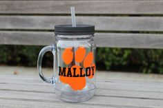 college sports cup, sports tumblers, Acrylic mason mug, acrylic mug, plastic mug, wedding party favor, bridesmaid mug, groomsmen cup, by ShopAroundTheCorner3 on Etsy