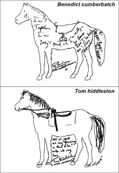 Benedict Cumberbatch and Tom Hiddleston draw horses. That's just cute. Haha, I love how Tom says that it isn't as good as his drawing in the movie :)