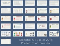 A complete PowerPoint presentation updated with the 2016 oil bottle labels and vitality oils. Complete with script (notes), PDF of the presentation, and slides as graphic zip file.