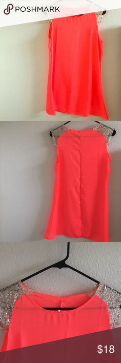 FINAL CLEARANCE Coral & Gold Dress Beautiful coral and gold dress with sequined mock sleeves. Brand new, never worn. It is a bit see through so I'd recommend a slip! Dresses Mini
