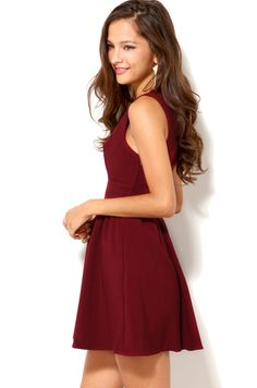 Akira Deep Cut Sleeveless Mini Dress in Red (OXBLOOD) | Lyst