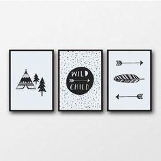 Monochrome Nursery Baby Wall Art Print Black and White Adventure Nursery Decor Wild Child Boho Arrows Nursery Baby Gift Teepee Feather Art