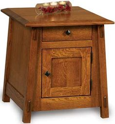 Amish Outlet Store : Colbran Enclosed End Table w/drawer & door in Oak